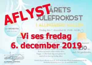 Julefrokost i Allingåbro Hallen aflyst - Genoptages 2019